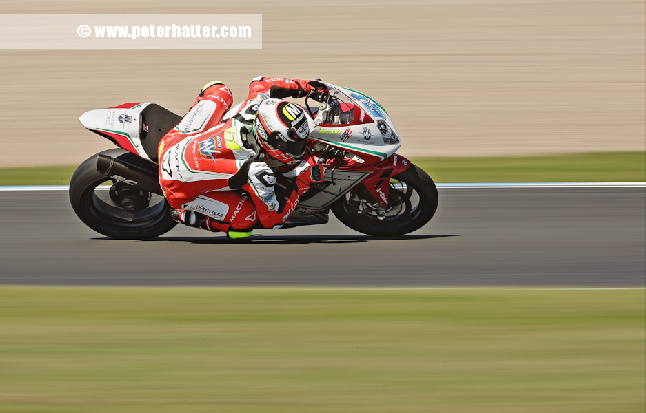 A panned motorcycle racer from World Supersport