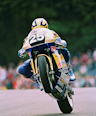 Ian Simpson going over the Mountain at Cadwell Park.